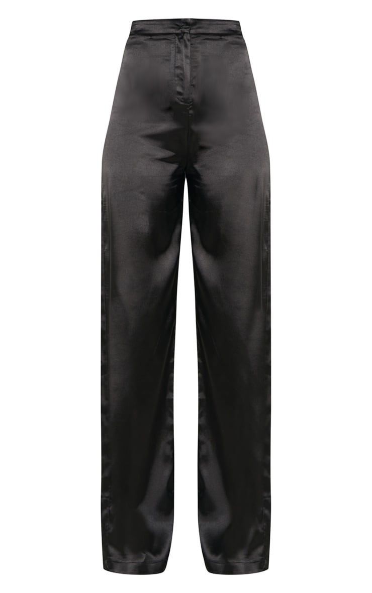 Tall Black Satin Wide Leg Trouser 3