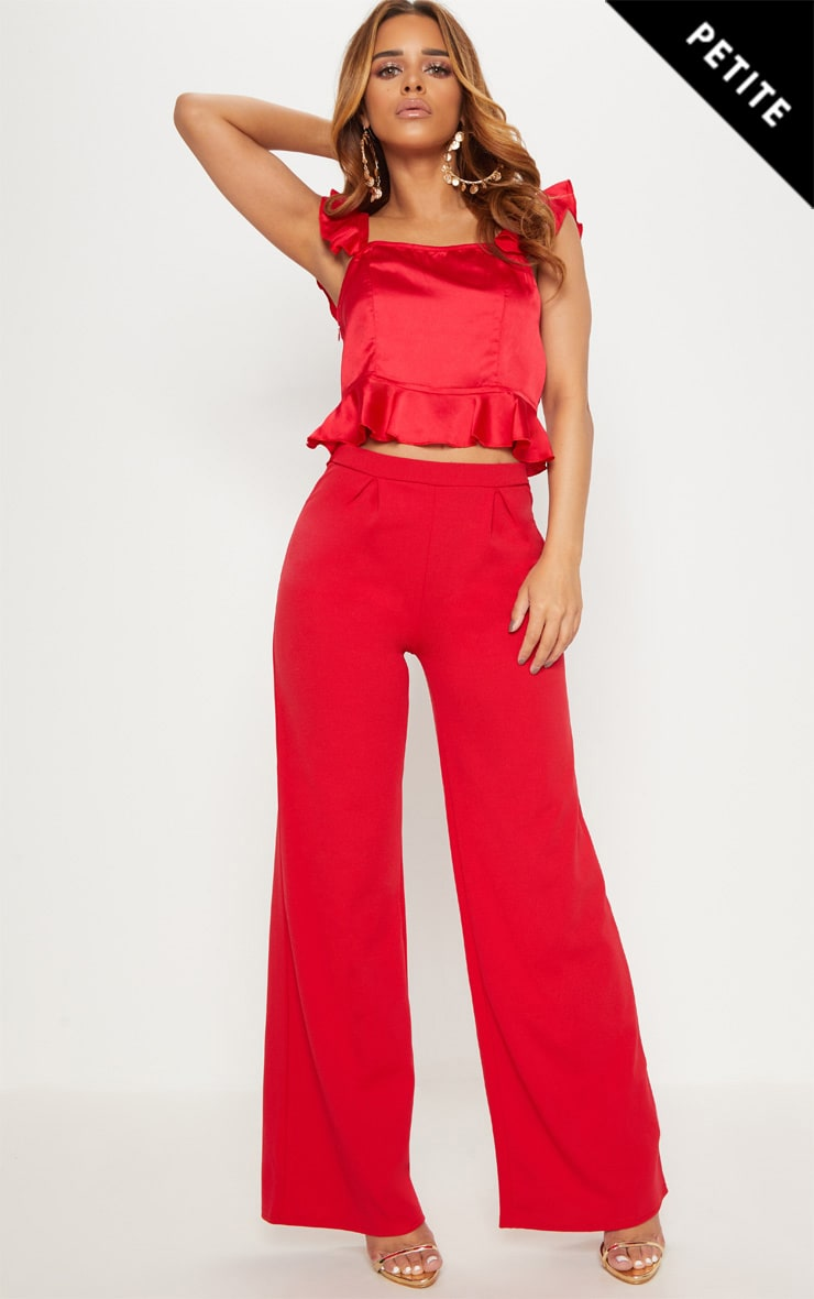 Red Petite Wide Leg Trousers