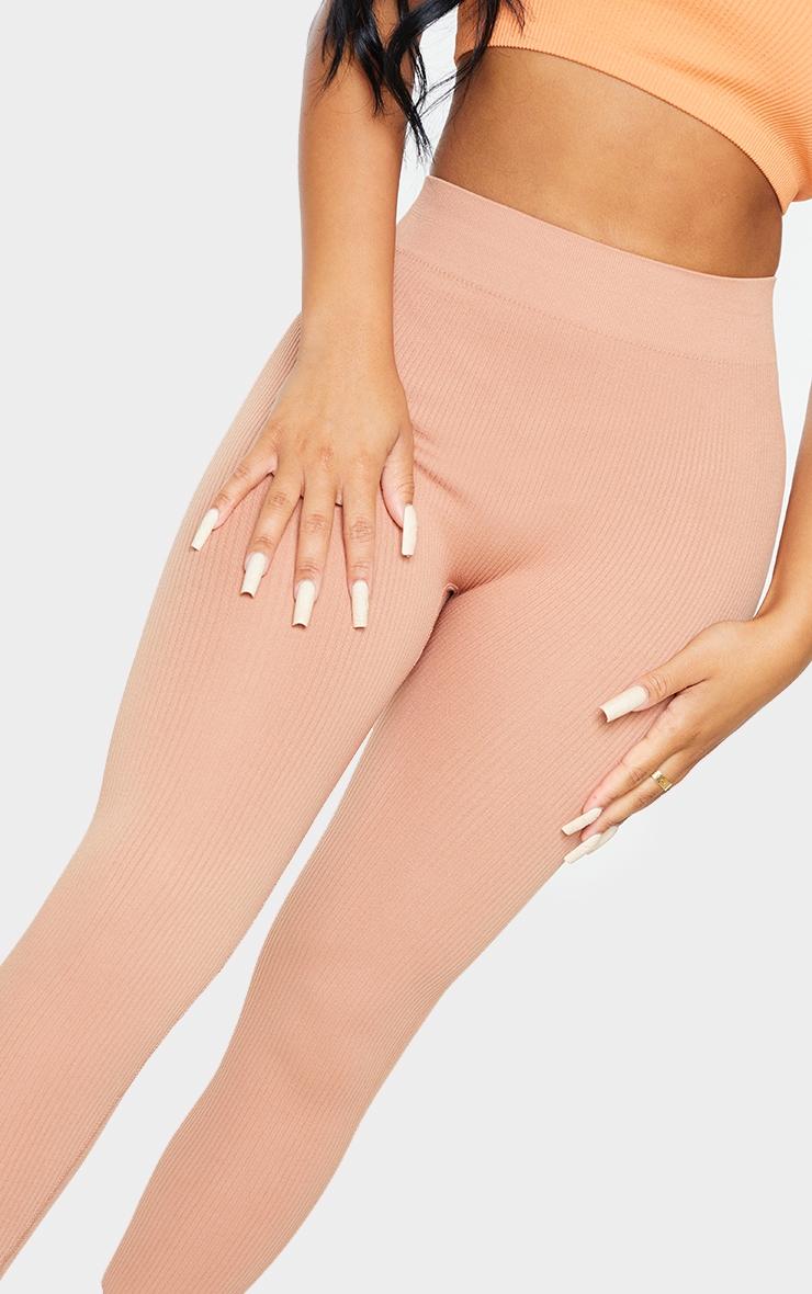 Petite Taupe Structured Contour Ribbed Leggings 4