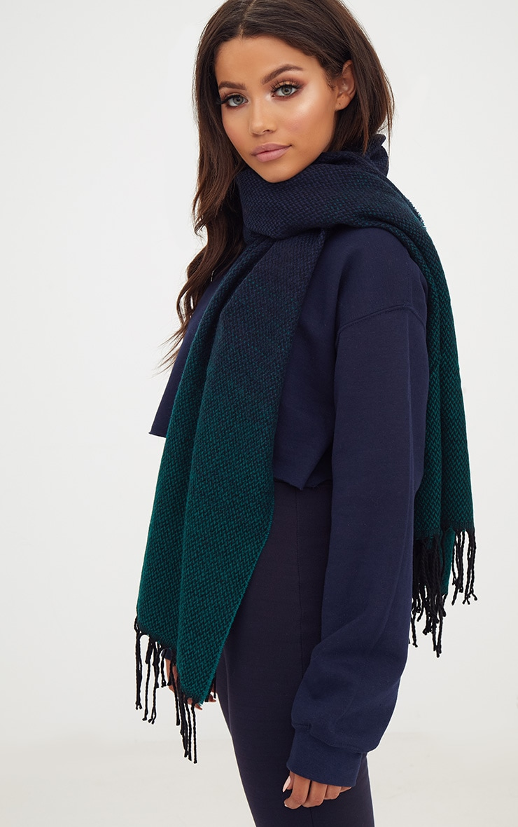 Teal Check Super soft Oversized Chunky Scarf 2