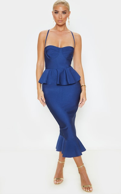 Midnight Blue Strappy Peplum Frill Hem Bandage Midi Dress