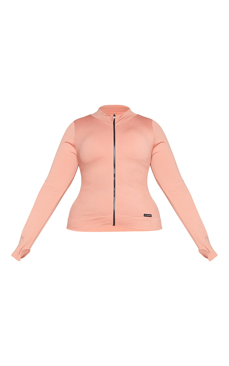 Plus Pink Seamless Rib Detail Jacket 5