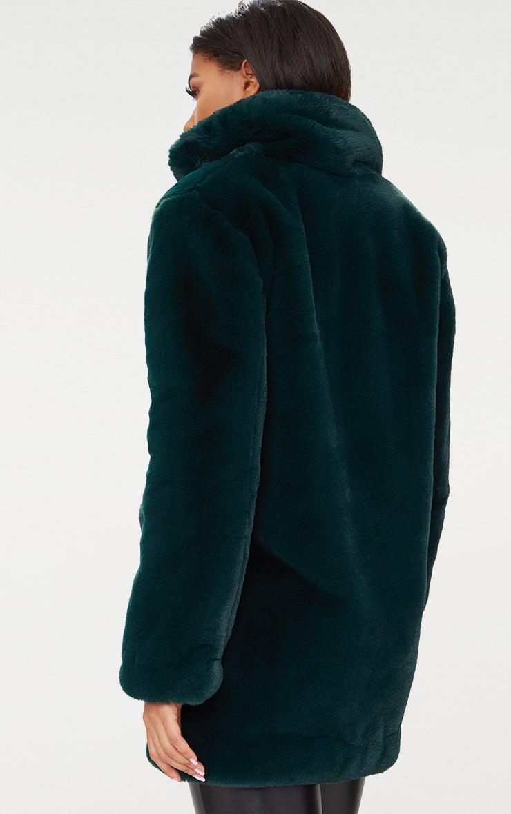 Emerald Green Premium Faux Fur Coat 2