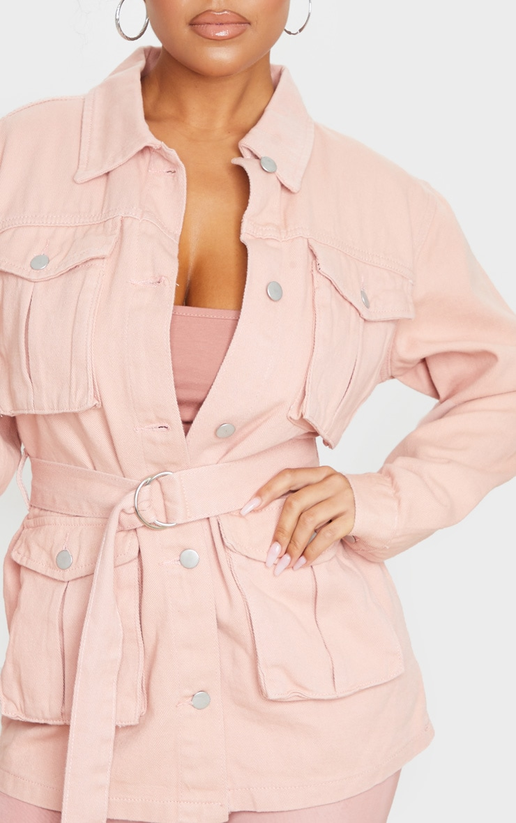Peach Belted Cargo Denim Jacket 4