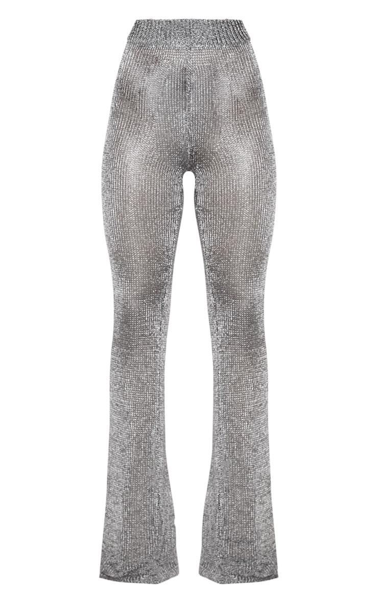 Pewter Metallic Wide Leg Flares 4