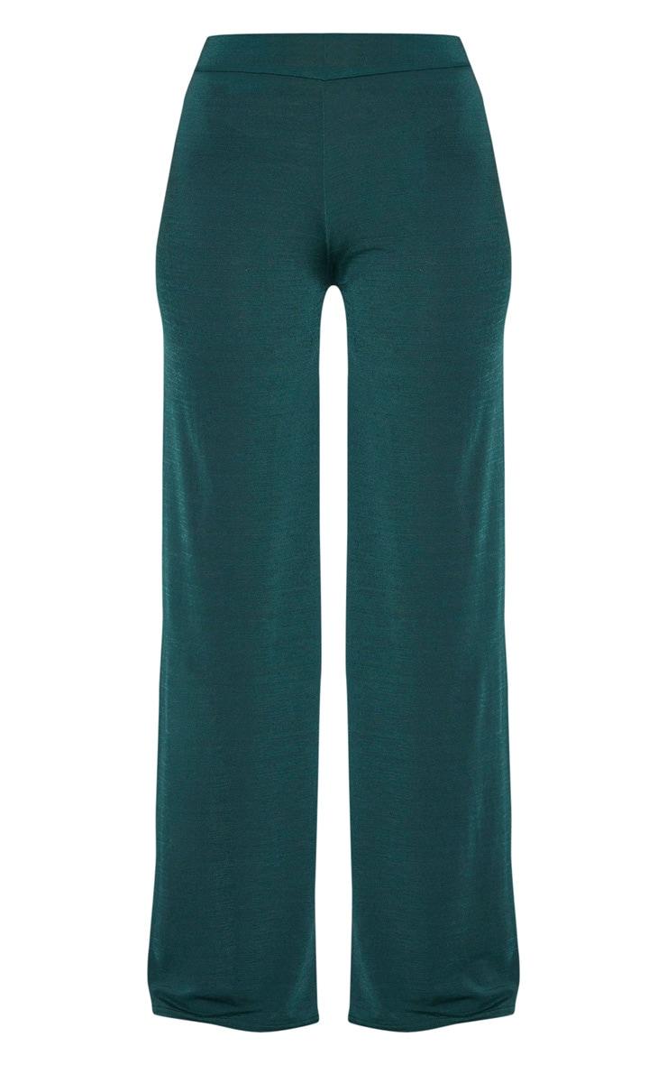 Emerald Green Slinky Wide Leg Pants  3