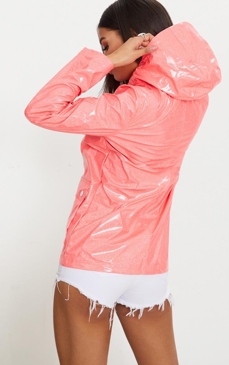 Pink Glitter Rain Mac  2