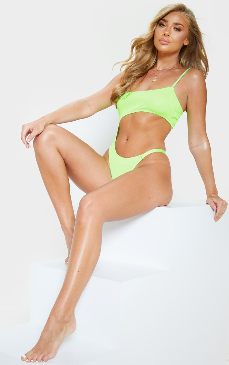 Lime Cut Out Mini Swimsuit 5