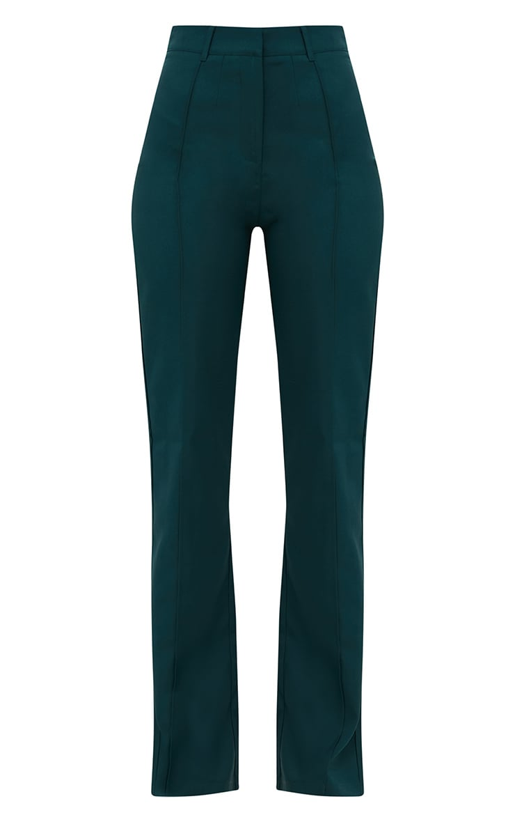 Emerald Green High Waisted Straight Leg Trousers 3