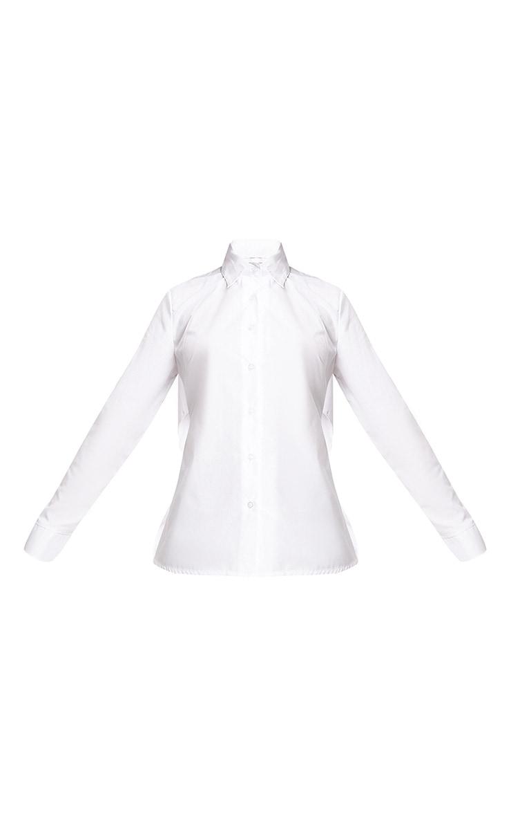 Abha White Woven Frill Open Tie Back Shirt  3
