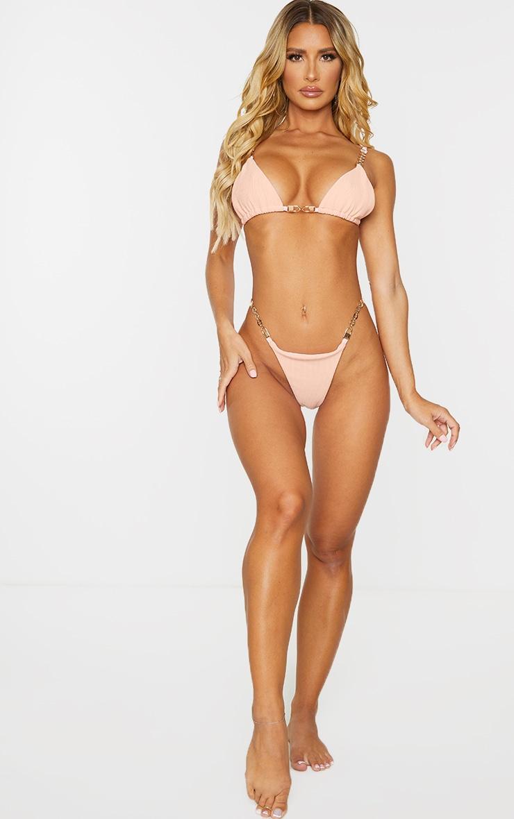 Peach Chain Trim Bikini Bottoms 3