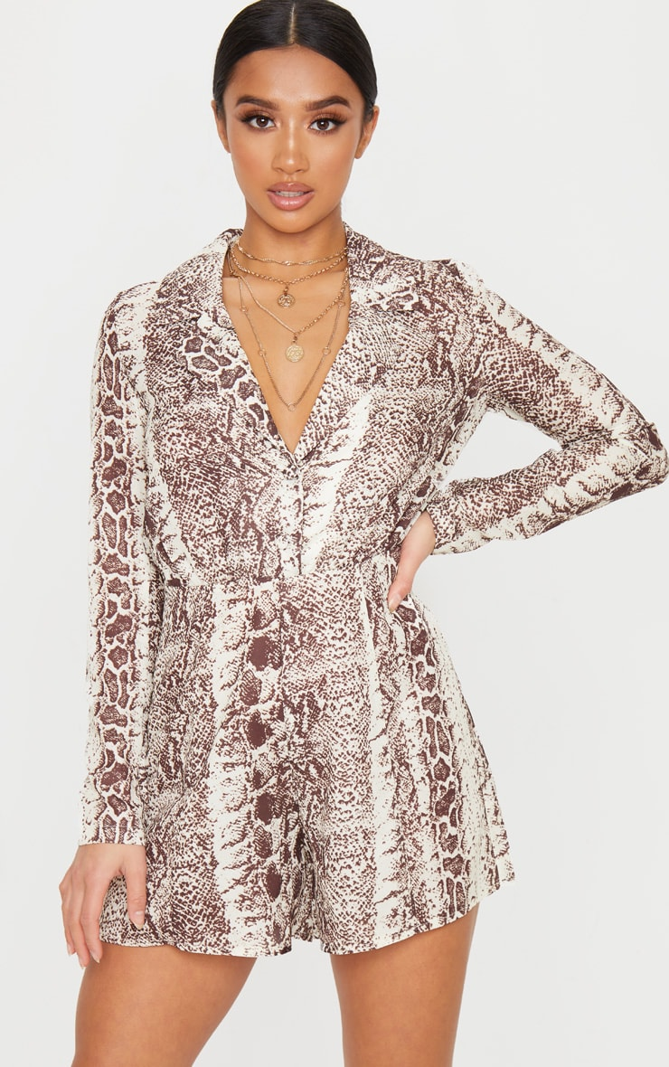 Petite Taupe Snake Print Button Front Long Sleeve Satin Playsuit 1