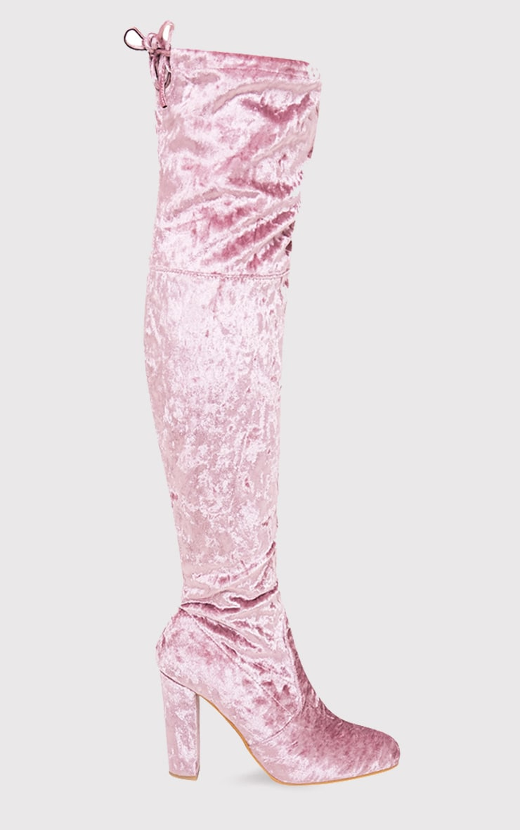 Bess Blush Crushed Velvet Heeled Thigh Boots 4