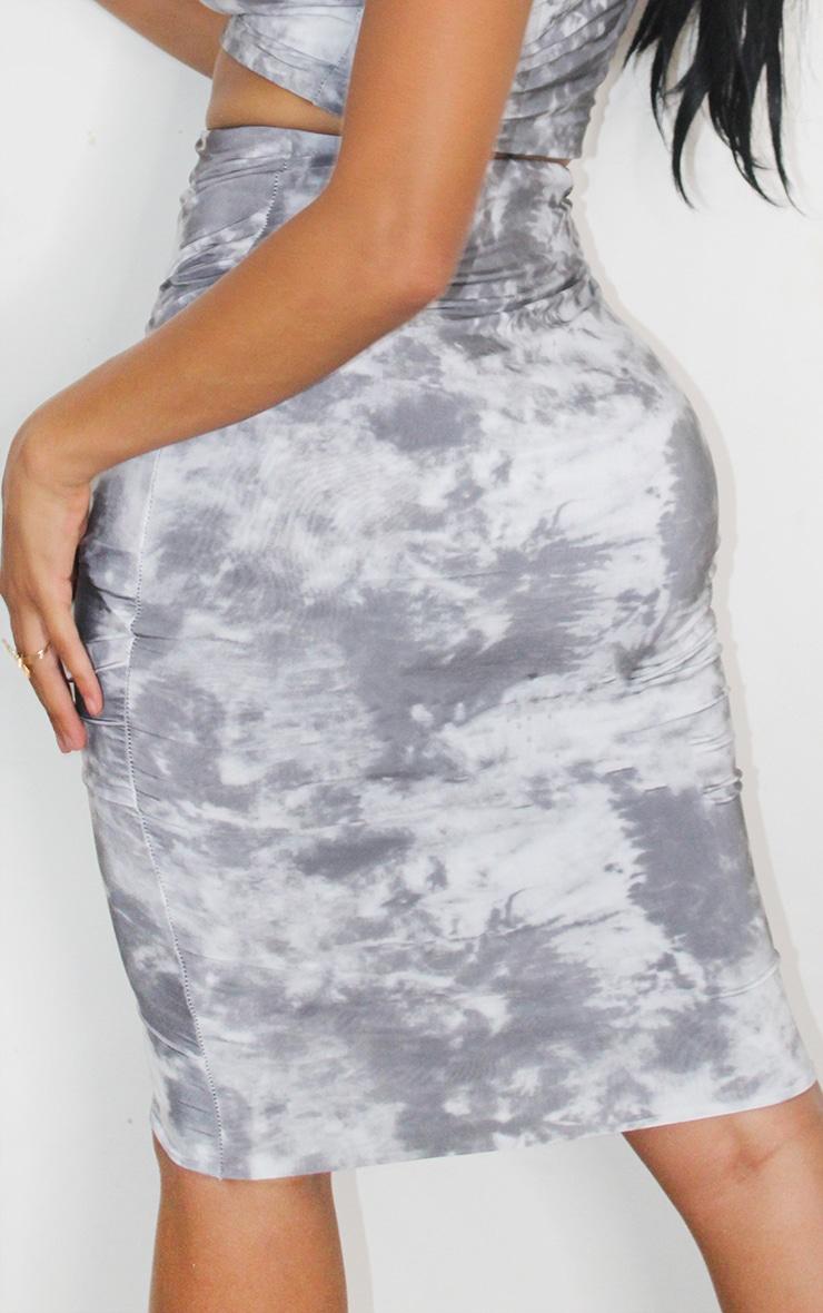 Shape Black Tie Dye Slinky Midi Skirt 3