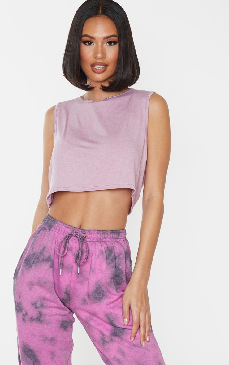 Lilac Jersey Ruched Back Crop Top 3