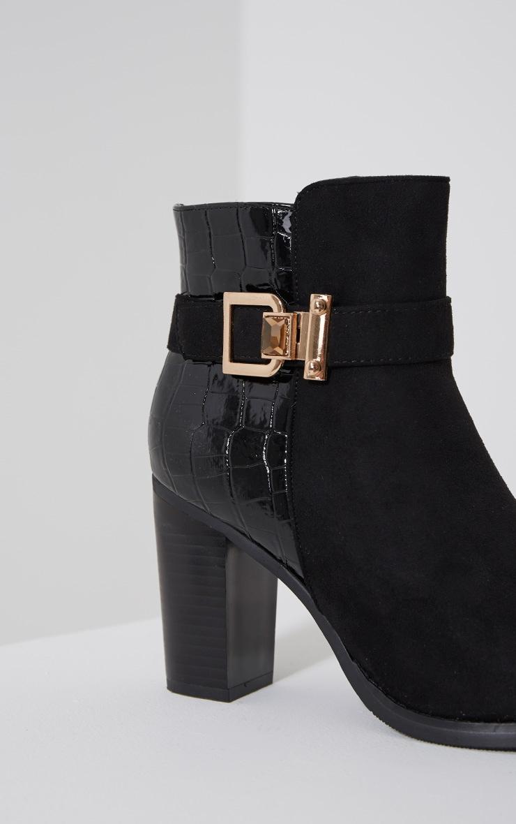 Monica Black Croc Suede Buckle Heel Boots 6