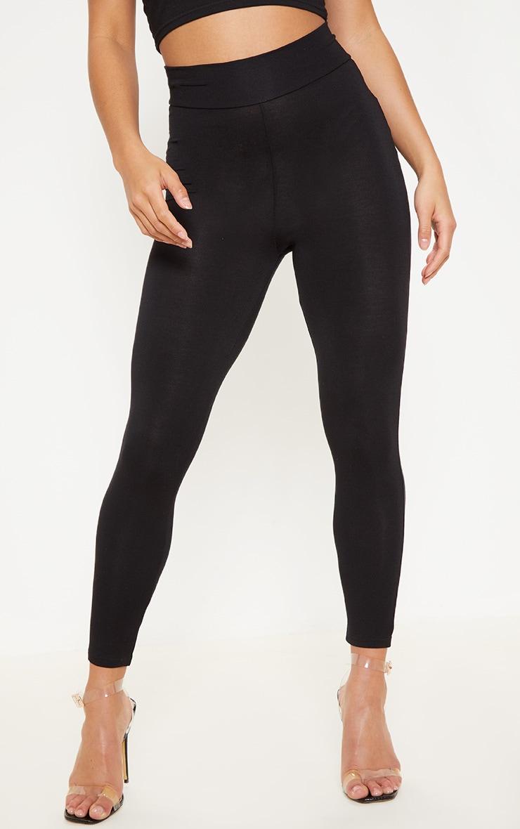 Petite Black High Waisted Jersey Leggings  2