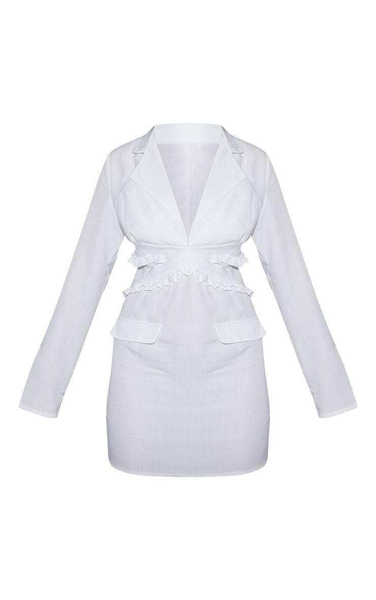 White Linen Bralette Detail Blazer Style Bodycon Dress 5