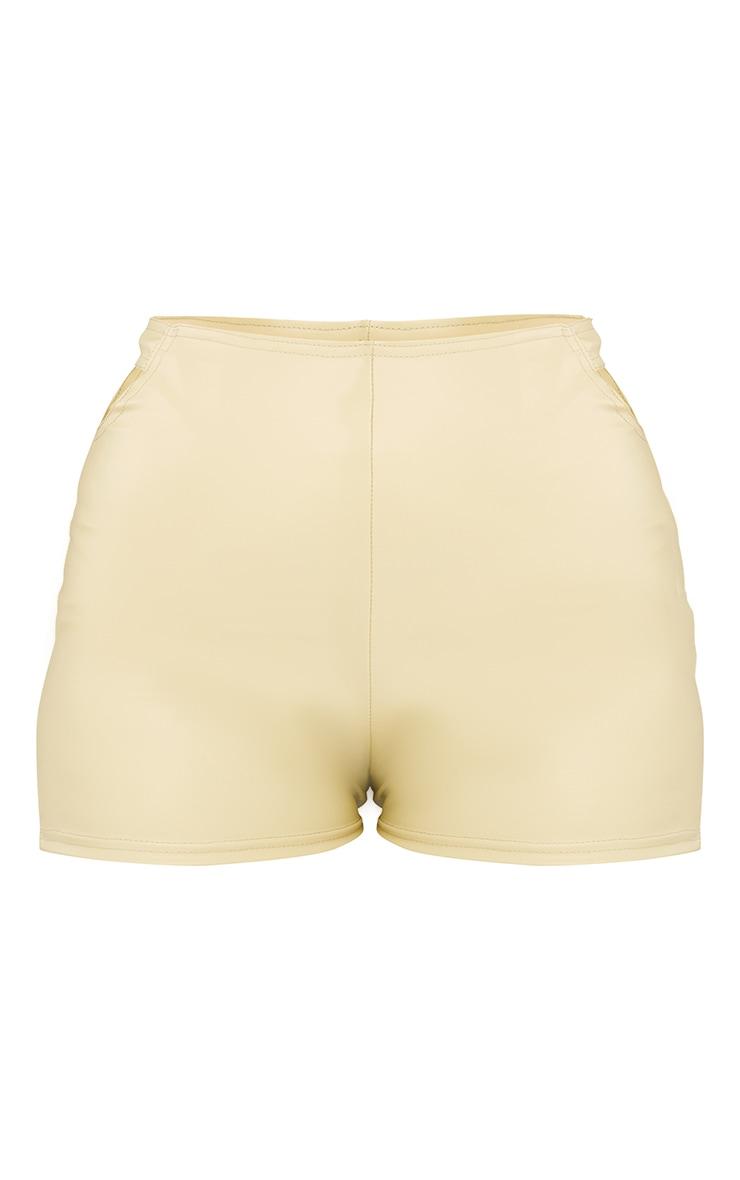 Pale Olive Faux Leather T Bar Hot Pants 6