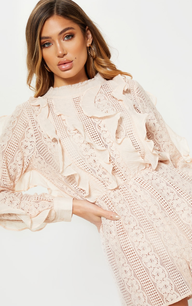 Dusty Pink Lace Frill Detail Long Sleeve Playsuit 5