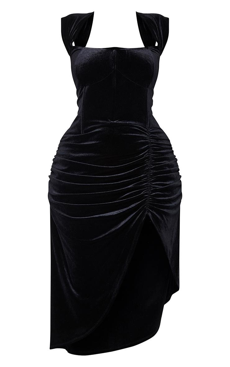 Plus Black Velvet Bardot Corset Detail Midi Dress 5