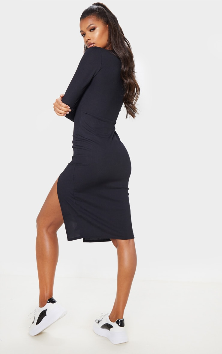 Black Rib Long Sleeve Split Front Midi Dress 2
