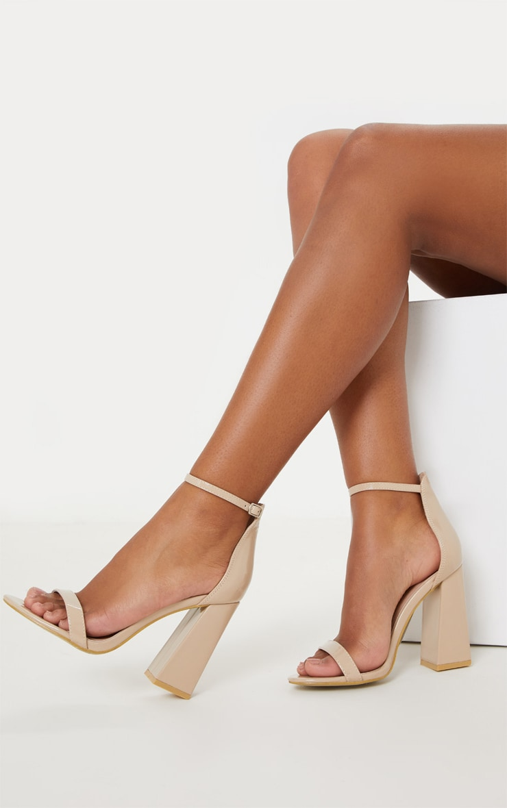 Nude Patent High Block Heel Strappy Sandal