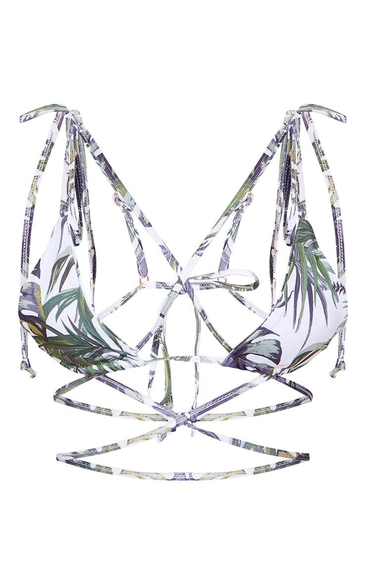 White Palm Print Triangle Tie Back Mini Bikini Top 6