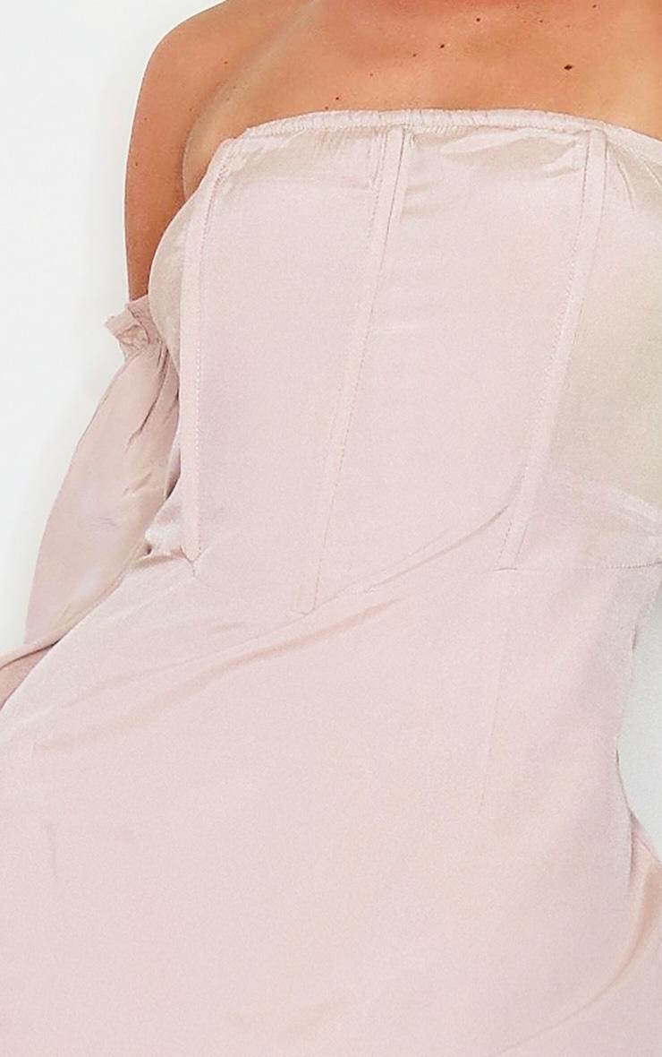Stone Bardot Corset Detail Woven Bodycon Dress 4