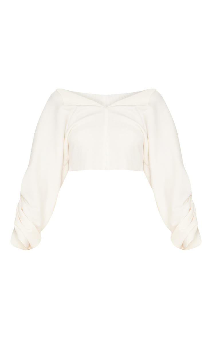 Cream Ribbed Ruched Sleeve Sweater 3