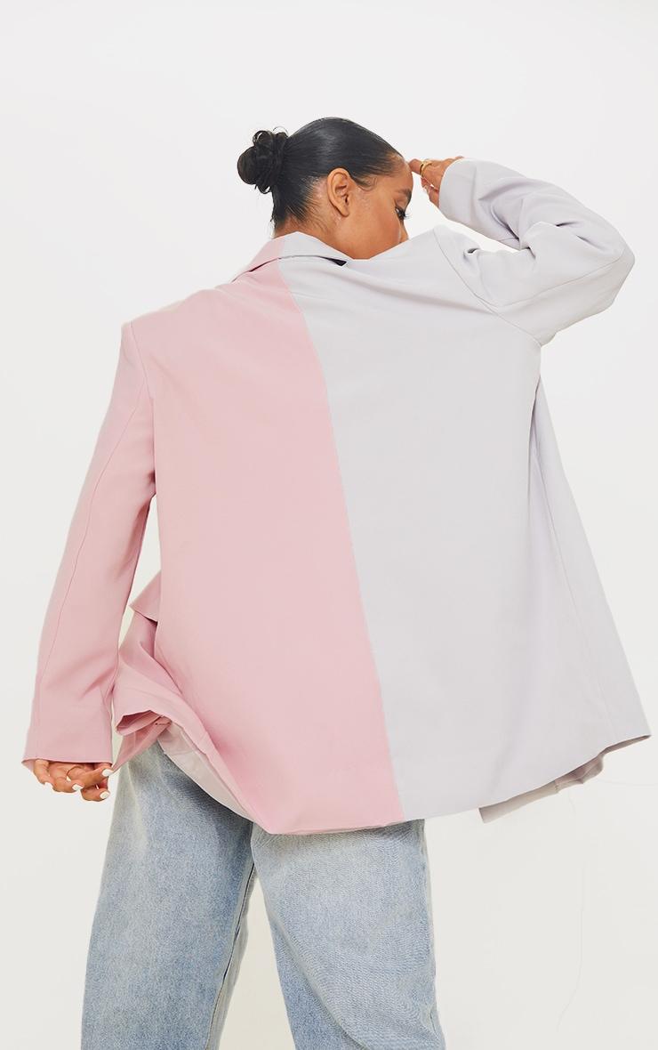 Multi  Woven Pastel Colourblock Shoulder Padded Blazer 2