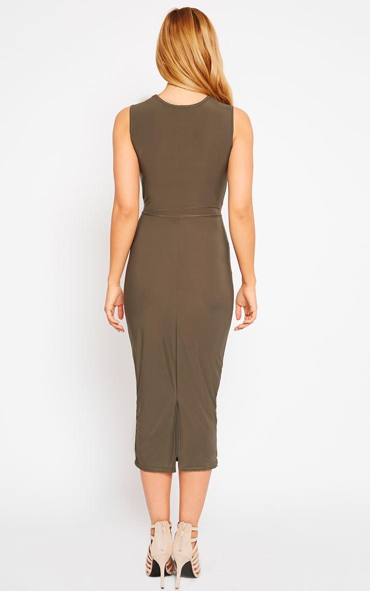 Zafia Khaki Sleeveless Midi Dress 2