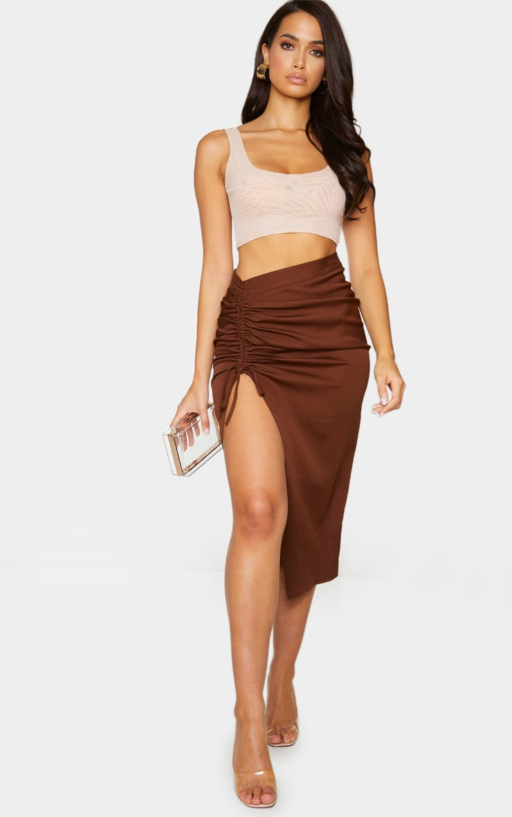 Chocolate Woven Ruched Detail Midi Skirt 1
