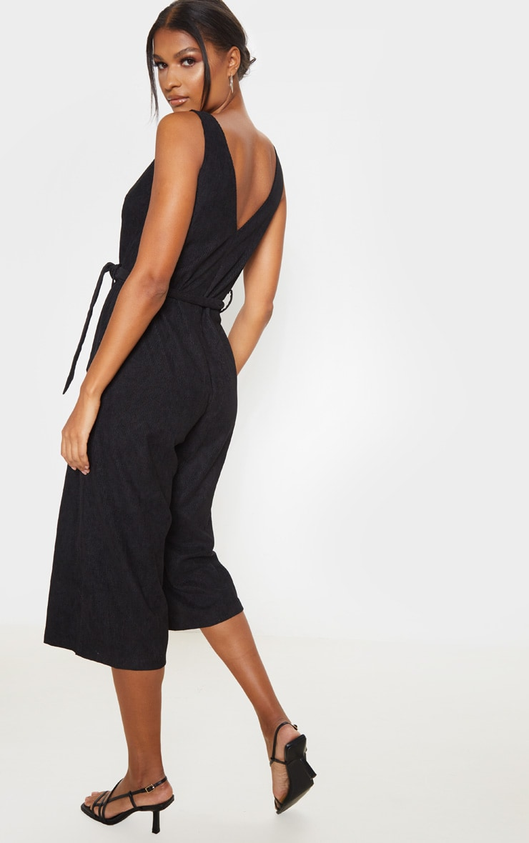 Black Cord Button Front Culotte Jumpsuit 2