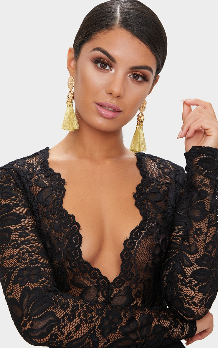Black Lace Long Sleeve Plunge Jumpsuit 5