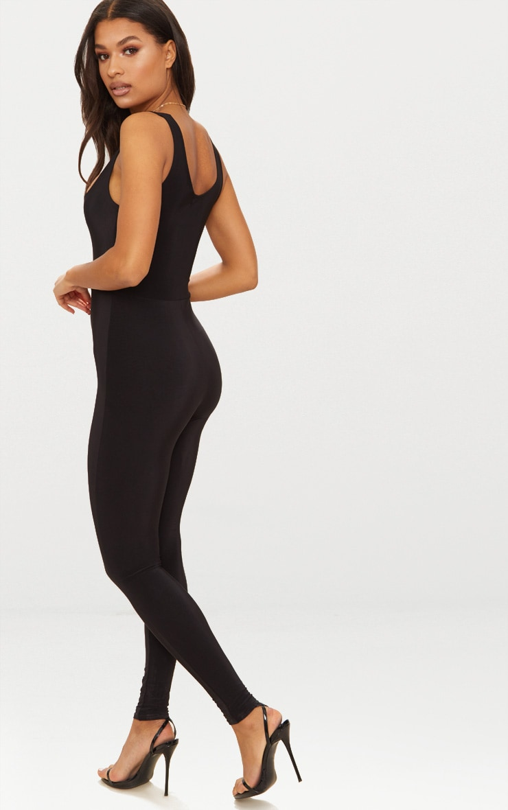 Black Second Skin Slinky Square Neck Jumpsuit 2