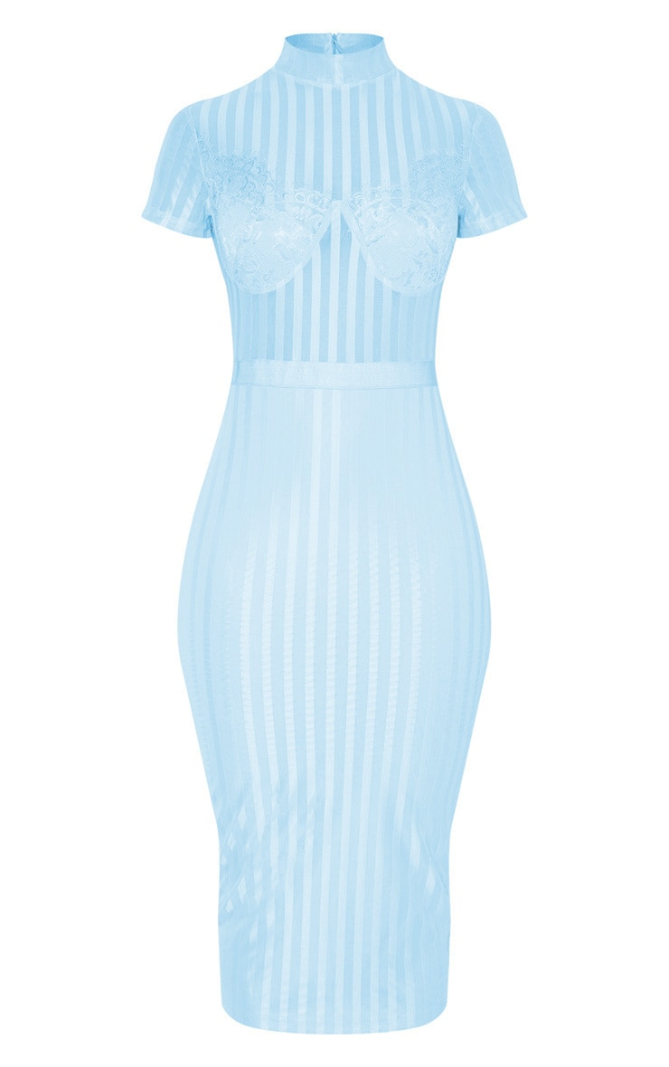 Dusty Blue High Neck Lace Lined Midi Dress 3