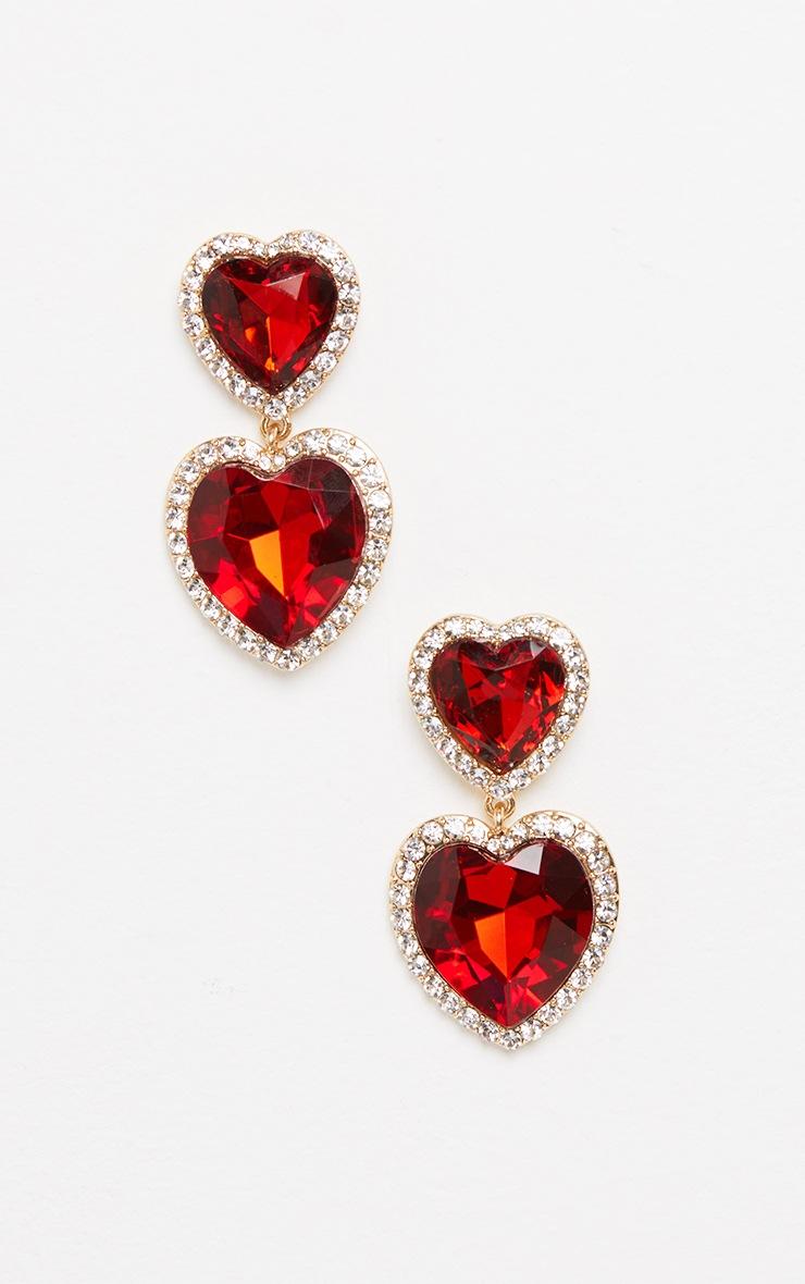 Red Heart Gemstone Statement Earrings 2