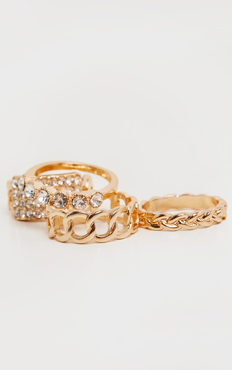 Gold Diamante Four Pack Stacking Rings 3