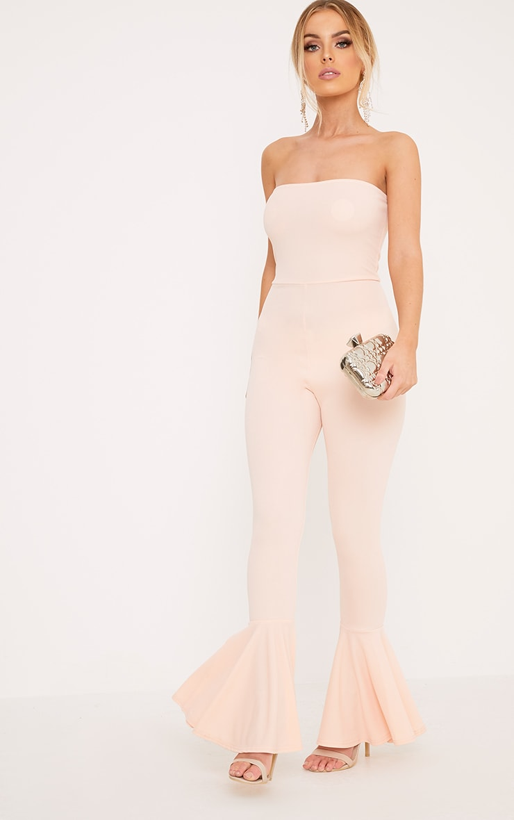 Livvy Nude Extreme Frill Flare Cropped Jumpsuit  4