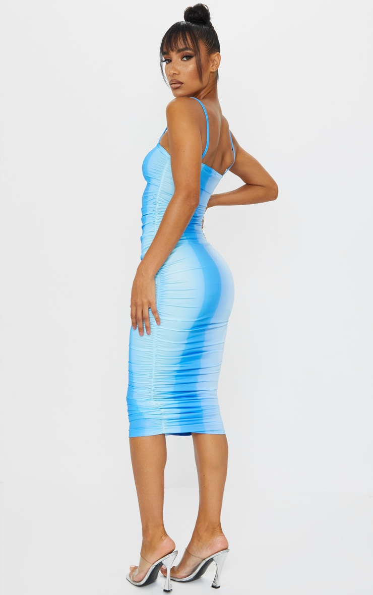 Blue Ombre Tie Dye Print Slinky Strappy Ruched Midaxi Dress 2