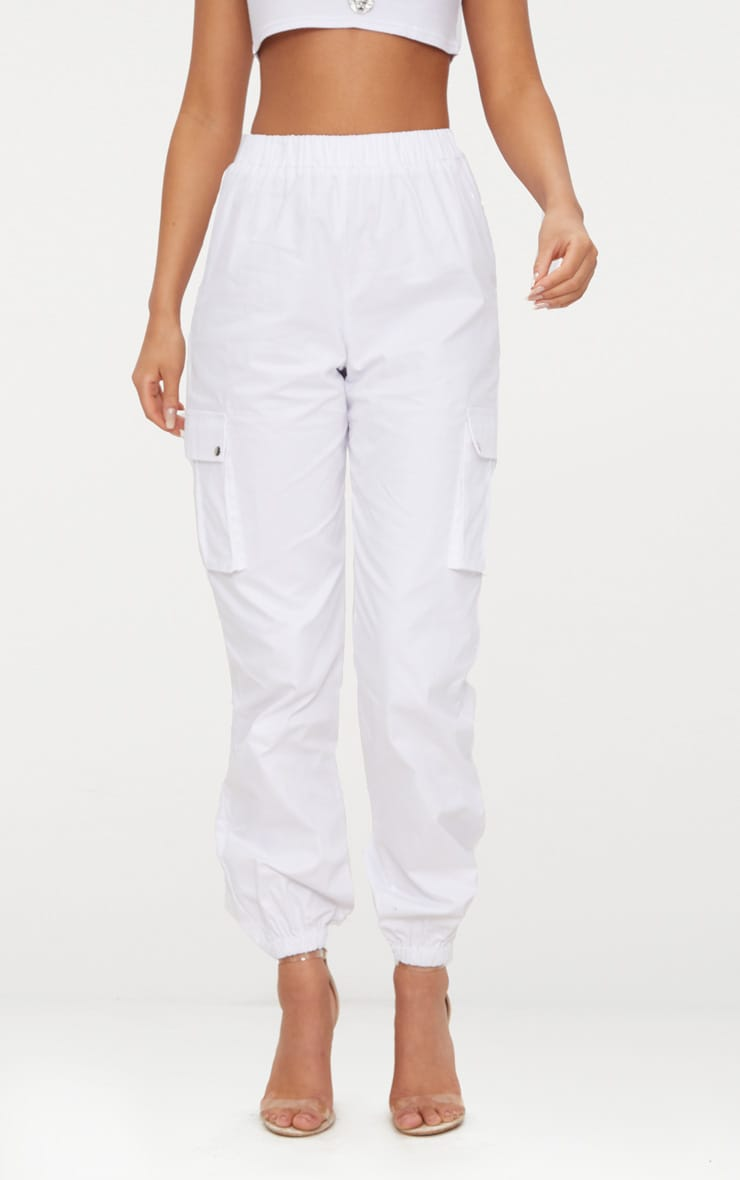 White Pocket Detail Cargo Trousers 4