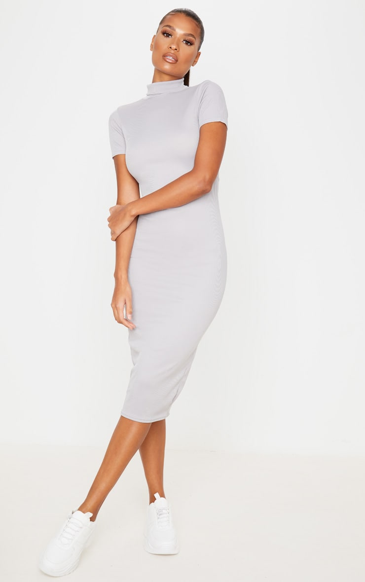 Grey Cut Out Back Roll Neck Midi Dress 1