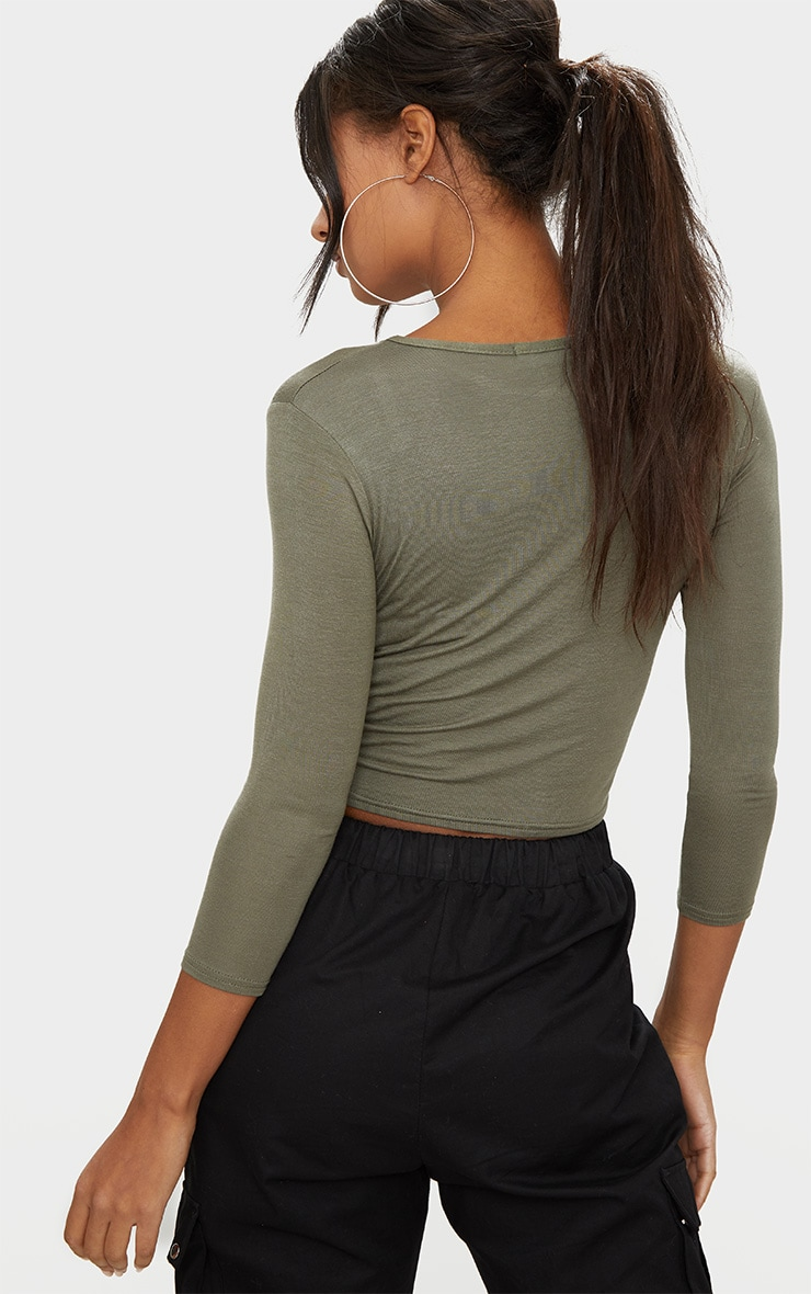 Basic Khaki 3/4 Sleeve Crop Top 2