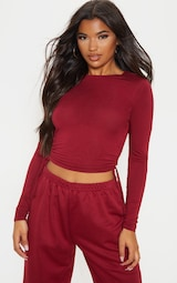 Scarlet Jersey Ruched Side Long Sleeve Crop Top 4