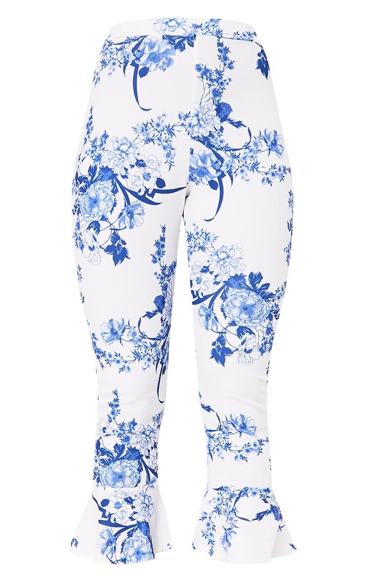 White Porcelain Print Flare Hem Trousers 3