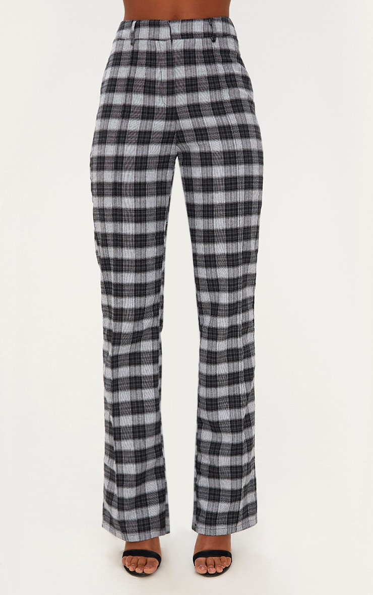 Black Check High Waisted Trousers 2