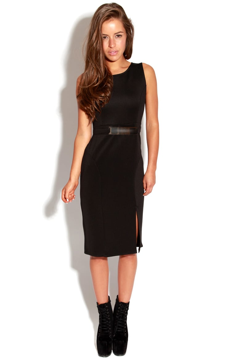 Briony Black Bodycon Midi Dress 3