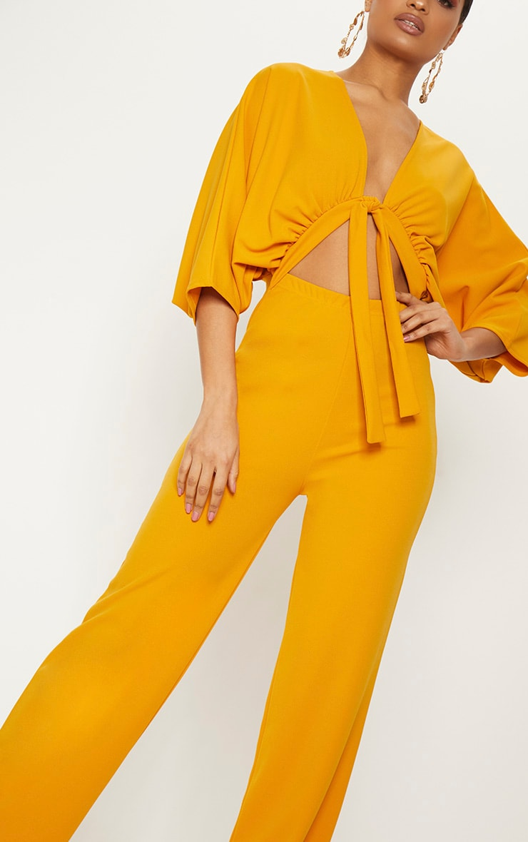 Mustard Crepe Batwing Cut Out Jumpsuit 5