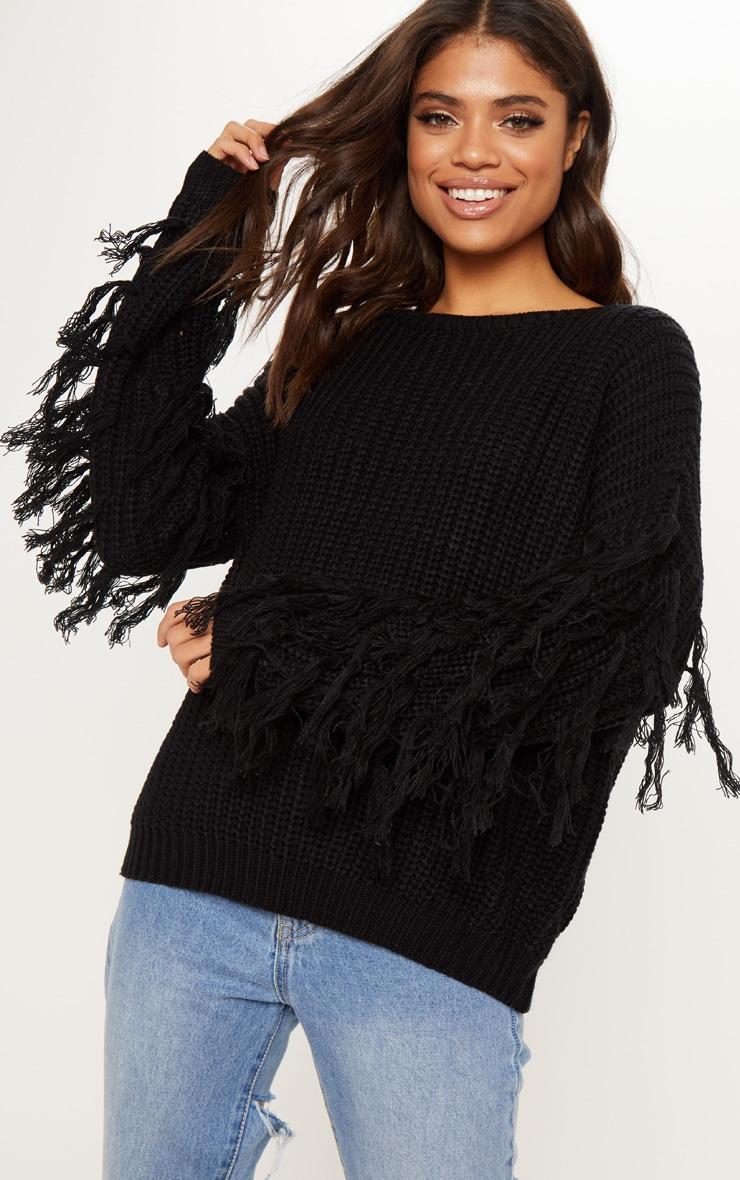 Black Knitted Tassel Sleeve Jumper  by Prettylittlething